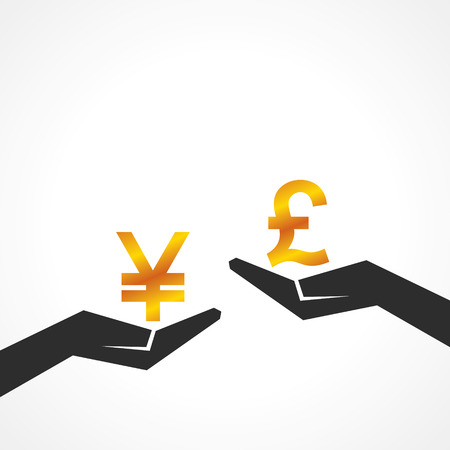woman holding money: Hand hold yen and pound symbol to compare their value stock vector