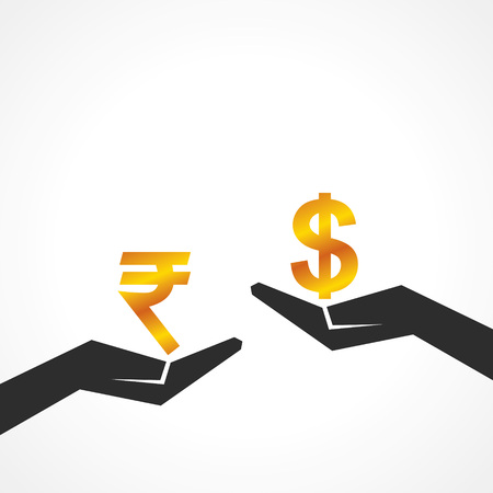 financial condition: Hand hold dollar and rupee symbol to compare their value stock vector