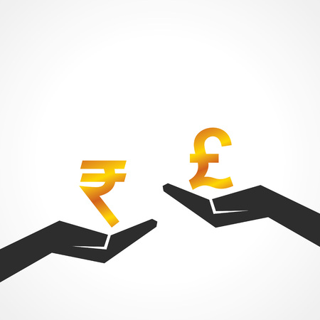 Hand hold rupee and pound symbol to compare their value stock vector Vector