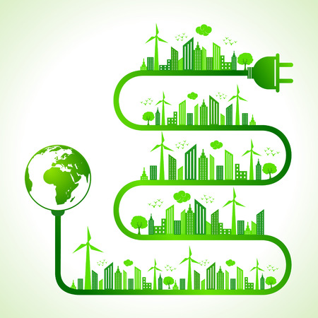 go green icons: Illustration of ecology concept with earth icon- save nature