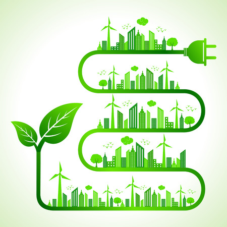 green energy: Illustration of ecology concept with leaf icon- save nature