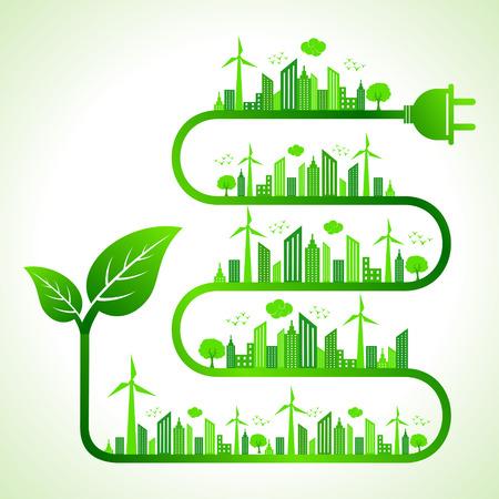 Illustration du concept d'écologie avec feuilles icon-save nature