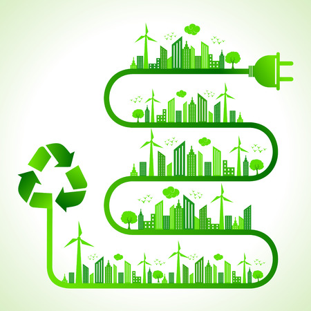 Illustration of ecology concept with recycle icon- save nature  Vector