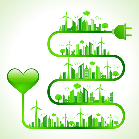 Illustration of ecology concept with heart icon- save nature  Vector