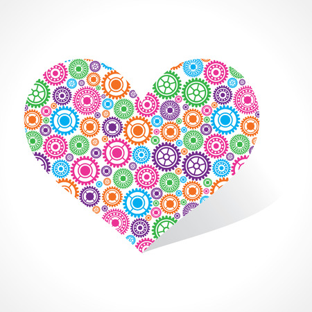 voilet: Group of gear make a heart stock vector