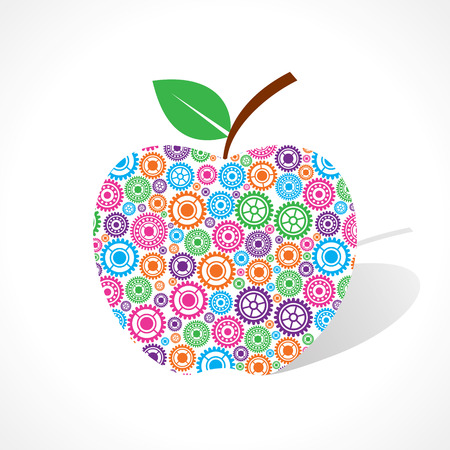 voilet: Group of gear make a apple stock vector