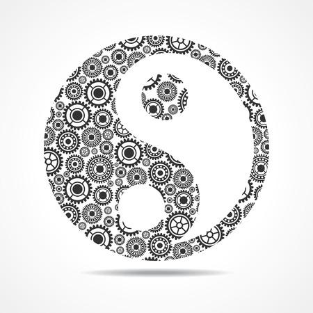 ying yang: Group of gear make ying and yang symbol stock vector