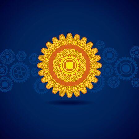 Illustration of yellow gear on blue background  Illustration
