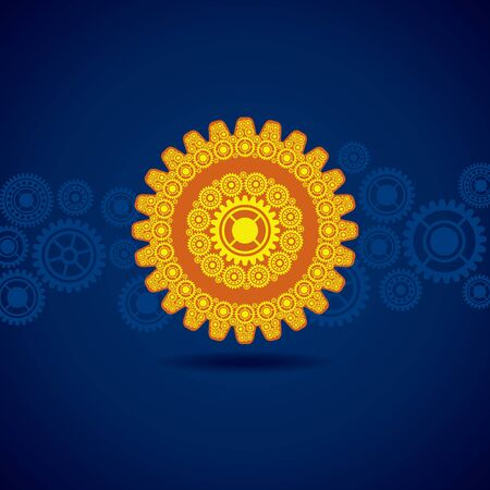 cog wheel: Illustration of yellow gear on blue background  Illustration