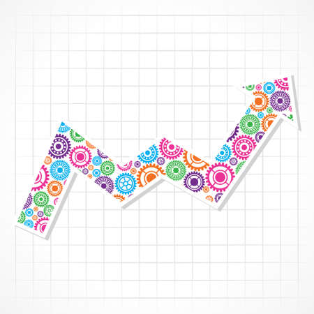 Group of gears make a business arrow stock vector  Vector