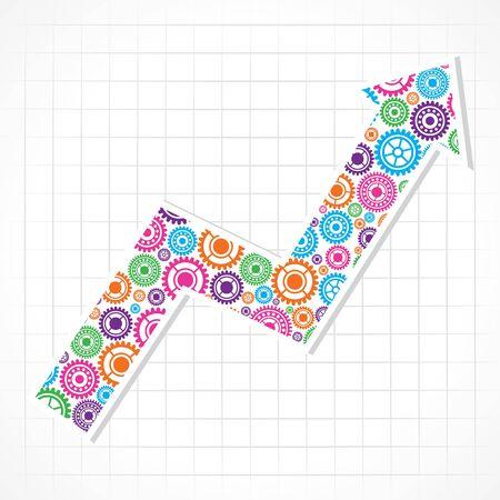 Group of gears make a business arrow stock vector  Vector