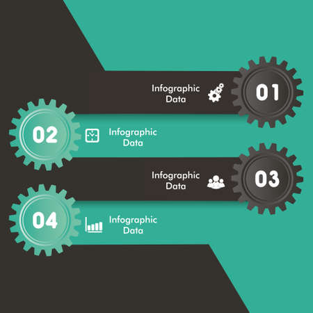 Illustration of colorful gears Info-graphics options banner Vector