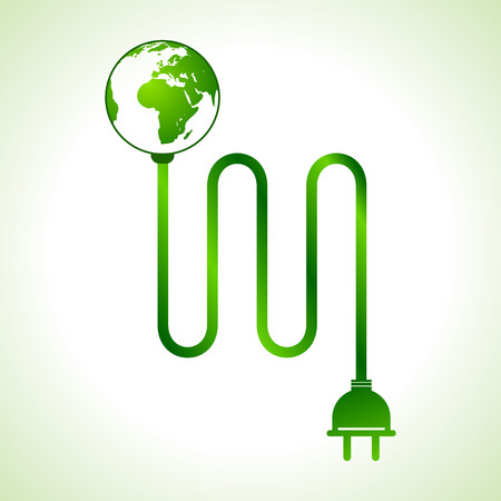 Vector illustration of earth globe with power cable Illustration