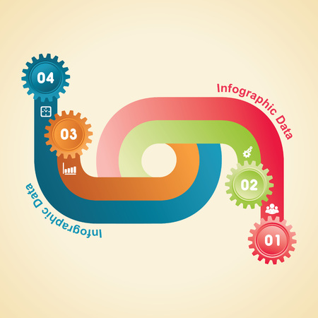 Illustration of colorful gears Info-graphics options banner Illustration