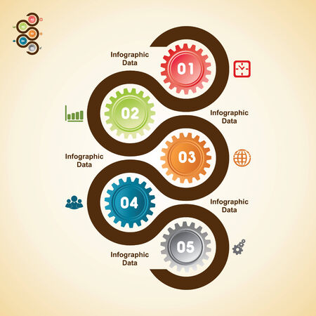 Illustration of creative gears Info-graphics options banner Vector