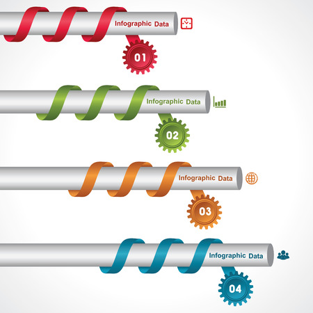 Illustration of creative gears Info-graphics options banner