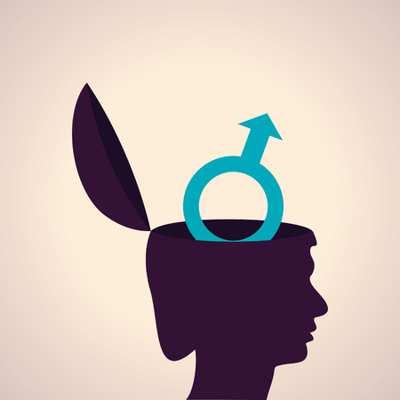 peacefulness: Illustration of thinking concept-Human head with male symbol