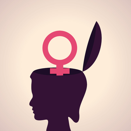 gender symbol: Illustration of thinking concept-Human head with  female symbol