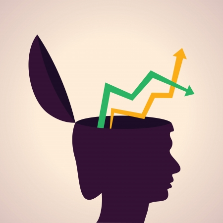 Illustration of thinking concept-Human head with up and down arrows Vector