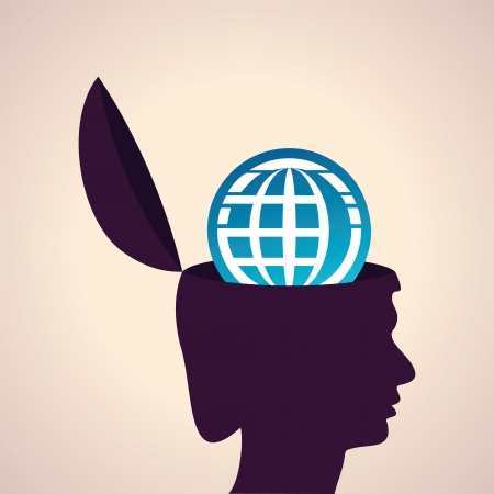 Illustration of thinking concept-Human head with earth icon Vector