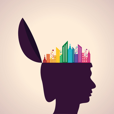Illustration of thinking concept-Human head with colorful building icon Vector