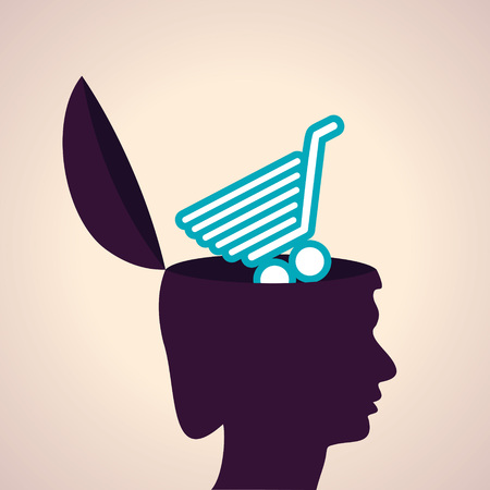 supermarket cart: Illustration of thinking concept-Human head with shopping cart symbol