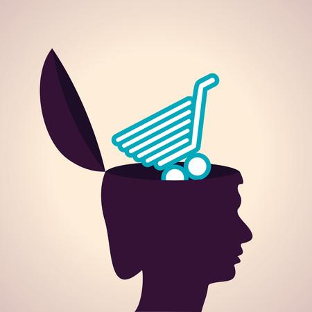 mujer en el supermercado: Ilustración de la cabeza pensante concepto humano con carrito de compras símbolo