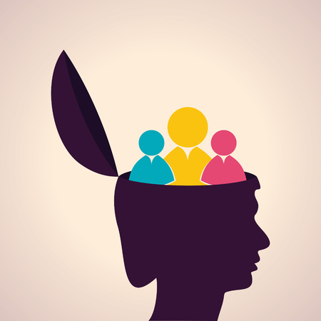 mind power: Illustration of thinking concept-Human head with people icon