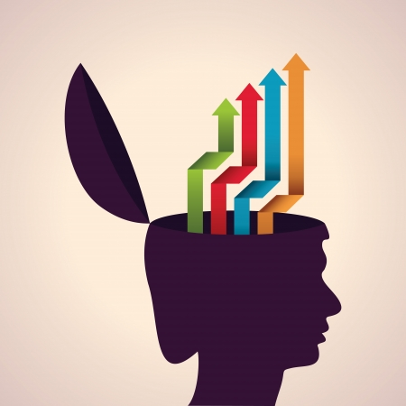 Illustration of thinking concept-Human head with colorful arrows Vector