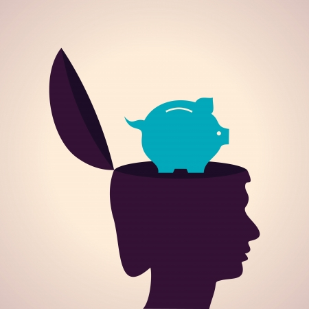 stingy: Illustration of thinking concept-Human head with piggy bank