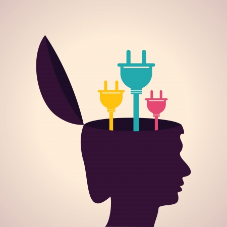 self improvement: Illustration of thinking concept-Human head with electric plugs
