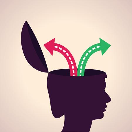 Illustration de penser concept Choisir chemin tort ou à raison Vecteurs