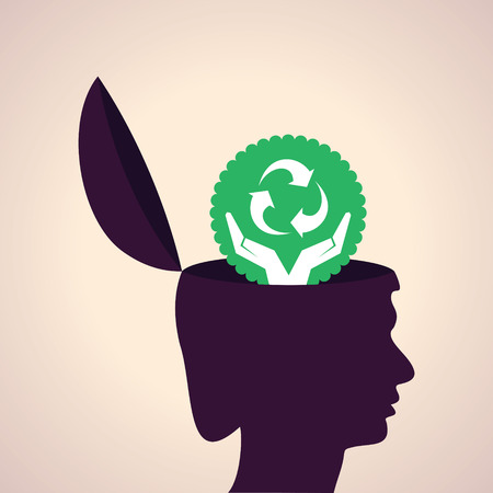 Illustration of thinking concept-Human head with recycle symbol Vector
