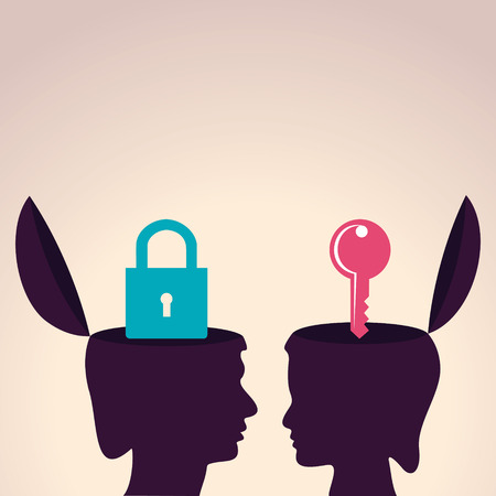 communicating: Illustration of thinking concept-Human head with lock and key symbol Illustration