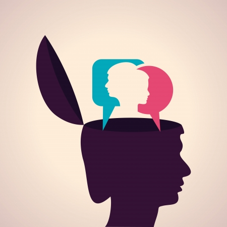 Illustration of thinking concept-Human head with male and female face Vector