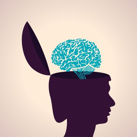 Illustration of thinking concept-Human head with brain Vector