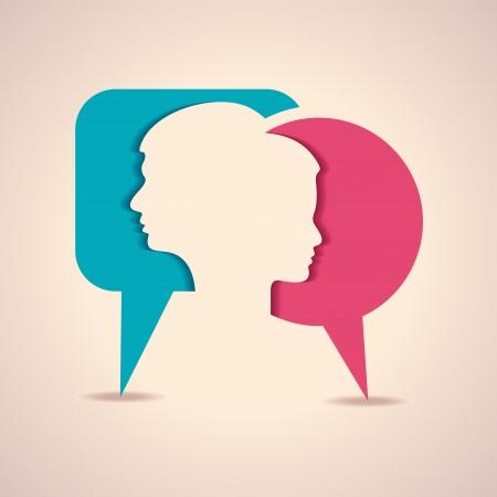 メッセージ バブルで男性と女性の顔のイラスト