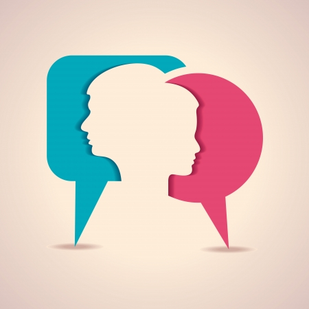 mente: Ilustración de la cara de hombre y mujer con la burbuja del mensaje