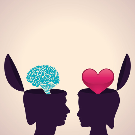 Illustration of thinking concept-Human head with brain and heart