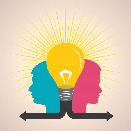 gender symbol: Illustration of male and female face with light-bulb Illustration