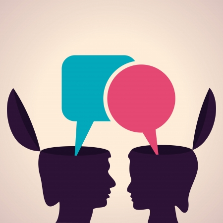 Illustration of thinking concept-Human head with message bubble Vector