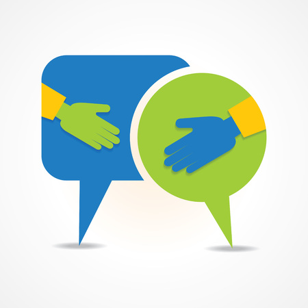 respect: Illustration of businessman handshake background with message bubble