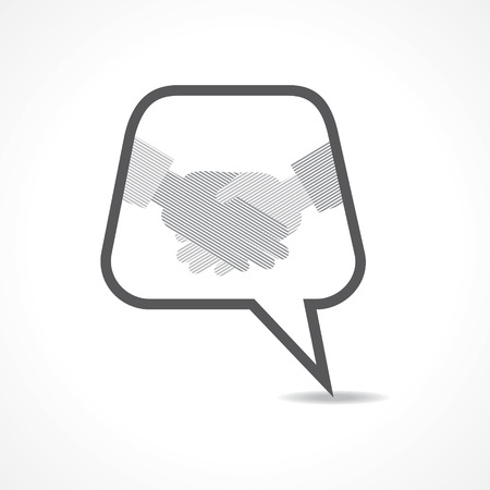 Illustration of businessman handshake background with message bubble Stock Vector - 23909664