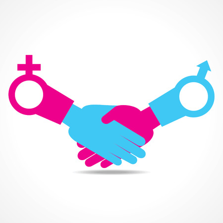 equal opportunity: Illustration of businessman handshake background with male and female symbol