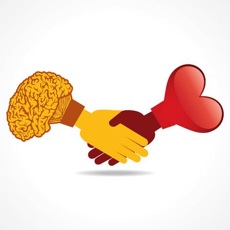 coraz�n y cerebro: Ilustraci�n de fondo empresario apret�n de manos con el coraz�n y el cerebro