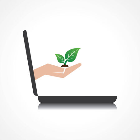 laptop vector: hand holding plant comes from laptop screen stock vector