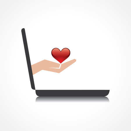 hand holding heart comes from laptop screen stock vector