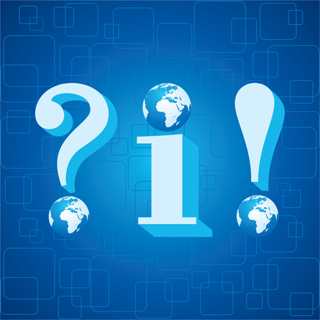 exclamatory: 3d blue info,question mark and exclamatory mark icon with globe instead of dot stock vector Illustration