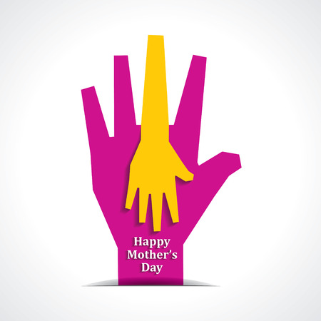 kids holding hands: Happy mothers day with two hands of mother and child background stock vector
