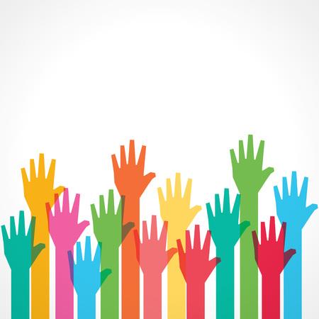 manos levantadas: Fondo colorido mano - ilustración vectorial